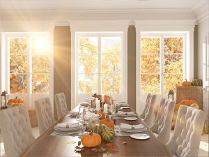 Dinning room table set with Fall theme
