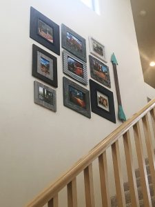 Photo arrangement on stairs, Design to Reflect, Phoenix AZ